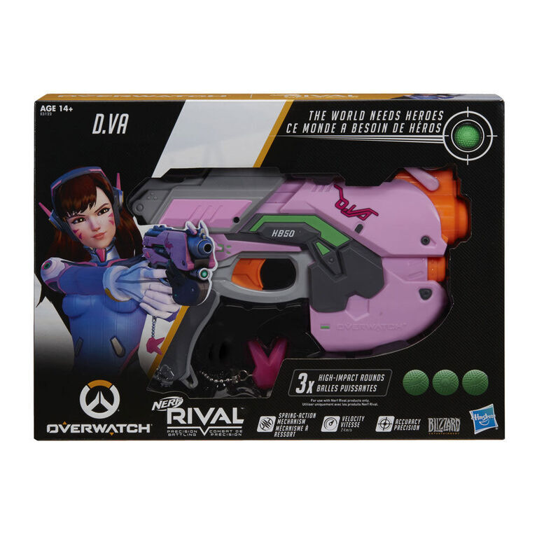 Overwatch DVa Nerf Rival Blaster with 3 OverWatch Nerf Rival Rounds