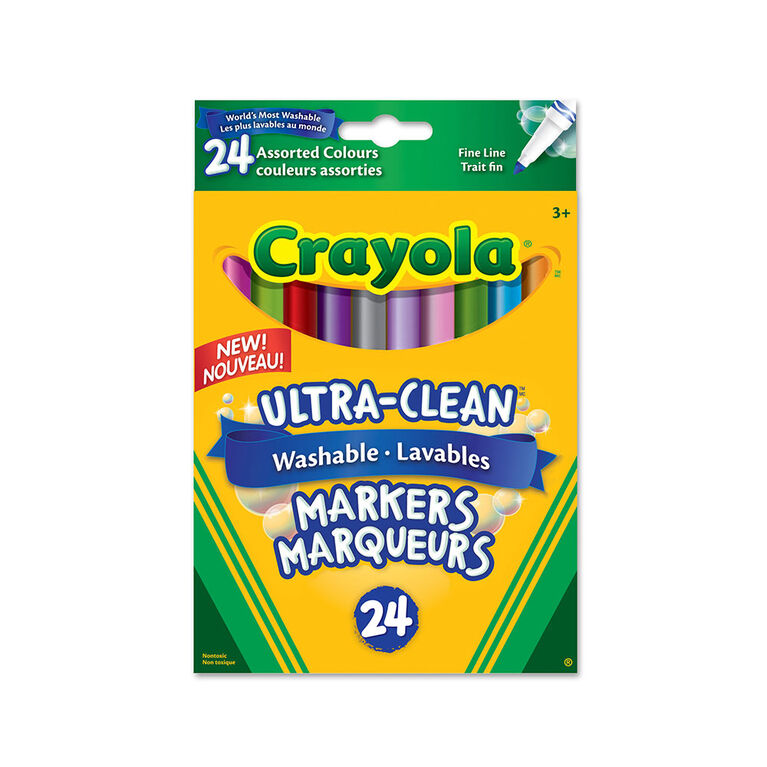 Crayola Ultra-Clean Washable Fine Line Markers, 24 Ct