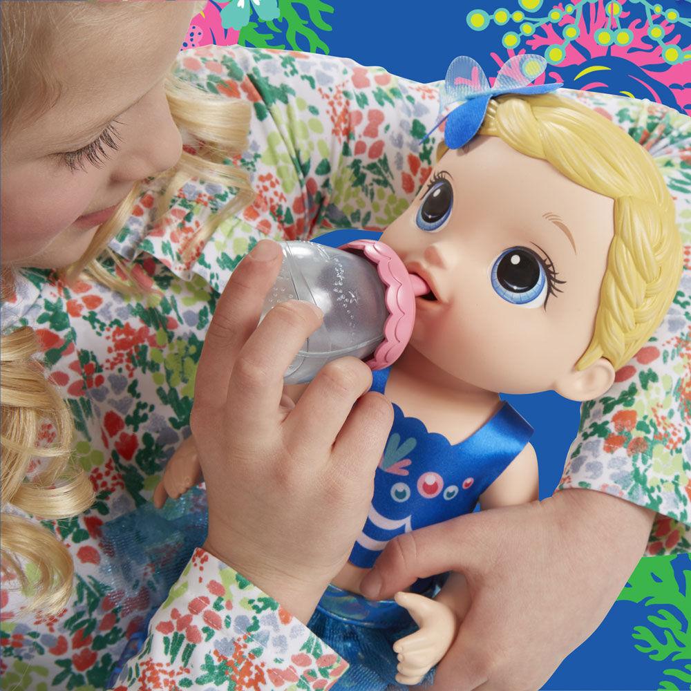 Black Hair Kid Toy Gift Baby Alive Shimmer n Splash Mermaid Baby Doll