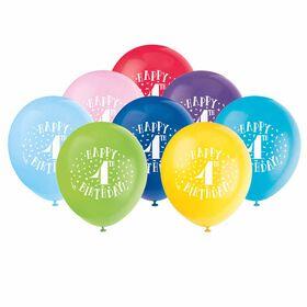"Fun ""Happy 4th Bday"" 12"" Latex , 8 pieces - English Edition"