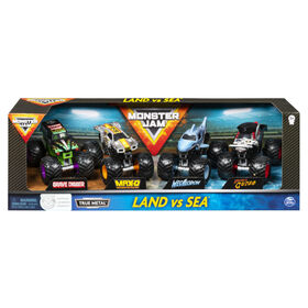 Monster Jam, Land vs. Sea 4 Pack (Grave Digger, Max-D, Megalodon, and Pirate's), 1:64 Scale Die-Cast Vehicles