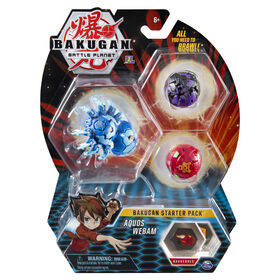 Bakugan, Starter Pack 3 personnages, Aquos Webam, Créatures transformables à collectionner