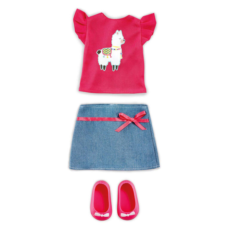 B Friends No Prob-llama Top and Denim Skirt Fashion Clothes for 18-inch Doll - R Exclusive