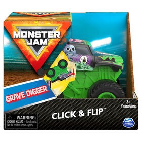 Monster Jam, Official Grave Digger Click and Flip Monster Truck, 1:43 Scale