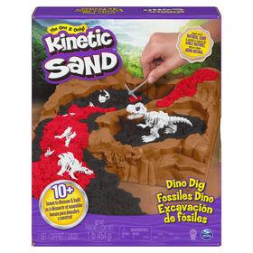 Kinetic Sand, Coffret Fossiles Dino avec 10 os de dinosaures cachés à découvrir