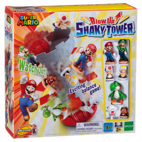 Epoch Games Super Mario Blow Up! Shaky Tower Balancing Game with Collectible Super Mario Action Figures - English Edition