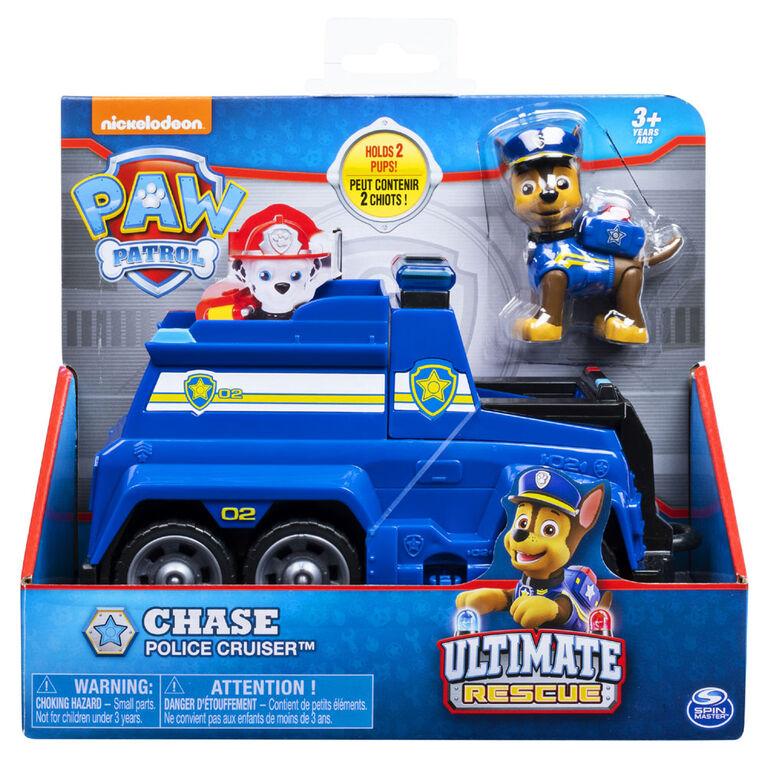 Voiture de police Ultimate Rescue de Chase avec siège transformable et barricade intégrée Pat' Patrouille