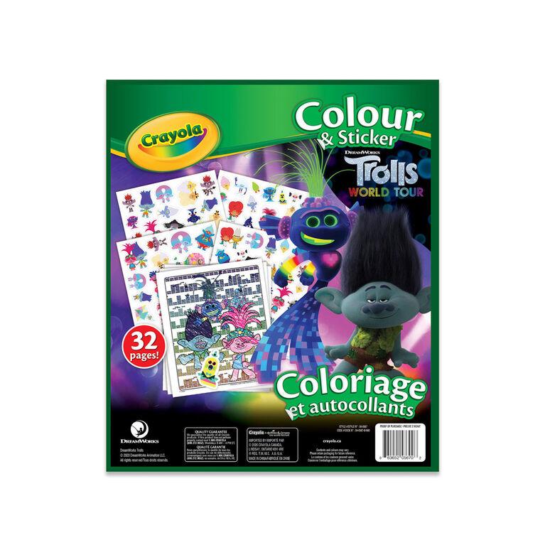 Livre à colorier et autocollants Crayola, Tournée Mondiale des Trolls