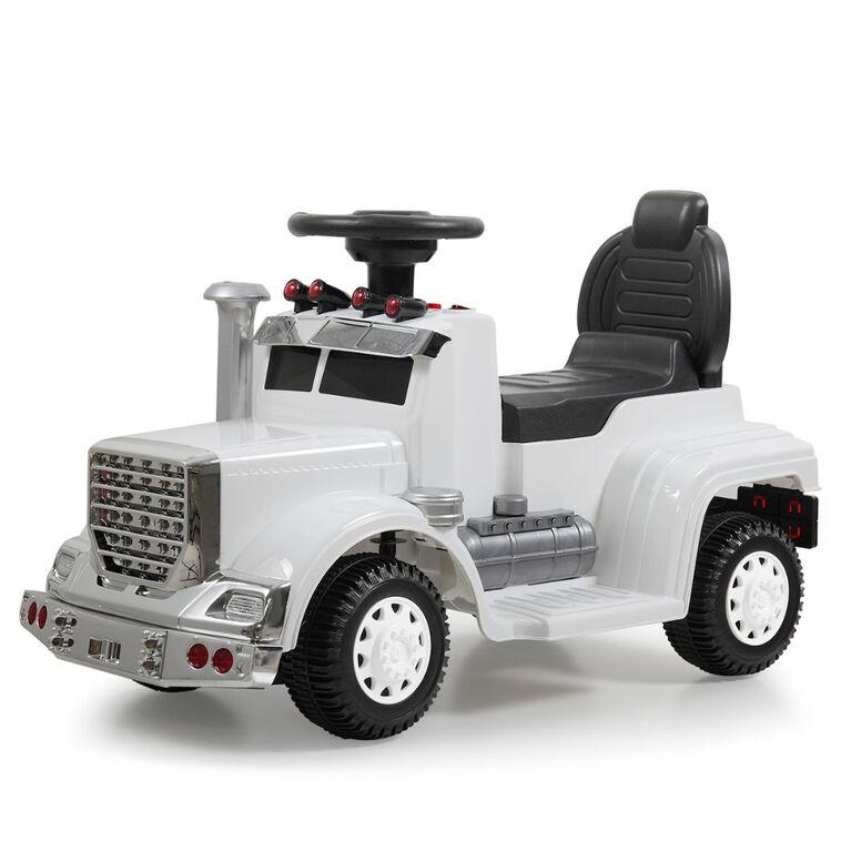 KidsVip 6V Enfants at Tout-Petits Big Rig Monter sur la Voiture de Poussée de Camion Voiture Eléctrique avec Commande à Distance - Blanc - Édition anglaise