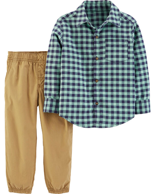 Carter's 2-Piece Gingham Button-Front Shirt & Poplin Pant - Green/Khaki, 12 Months