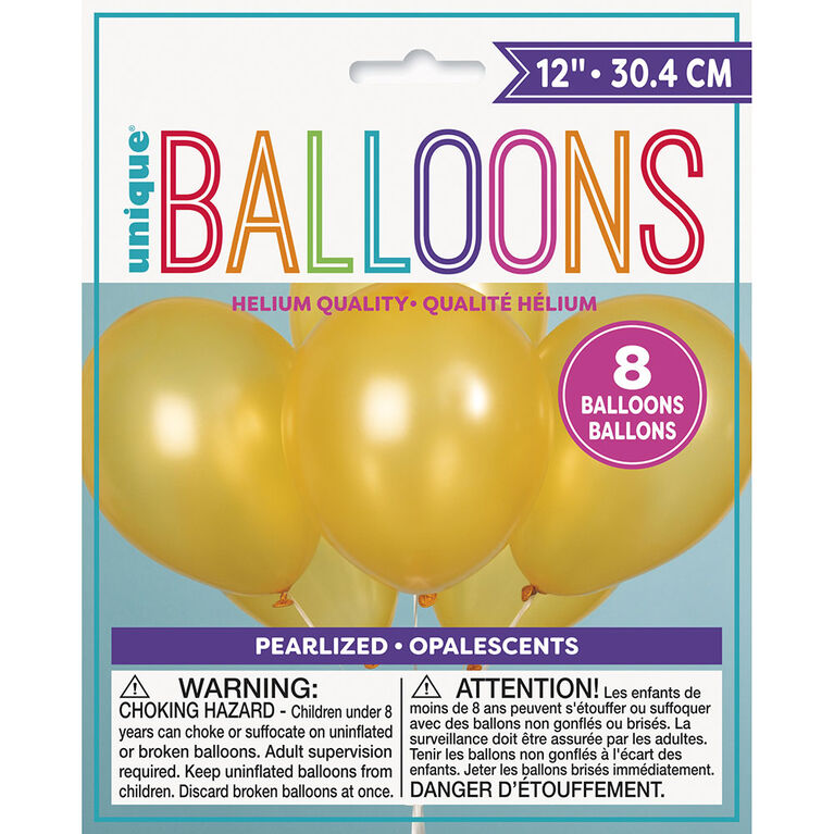 "12"" Latex Balloons, 8 Pieces - Gold"