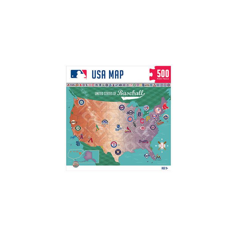 MLB Baseball Map 500 Piece Jigsaw Puzzle - English Edition
