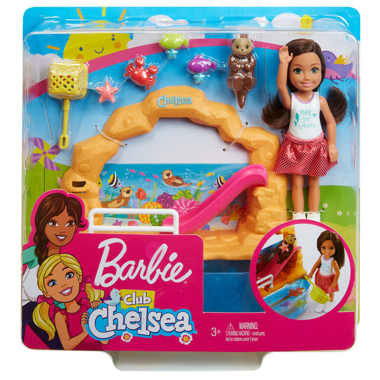 Barbie Club Chelsea Doll and Aquarium Playset, 6-inch Brunette with Accessories