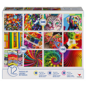 Family 12-Pack of Jigsaw Puzzles, Colorful Pictures