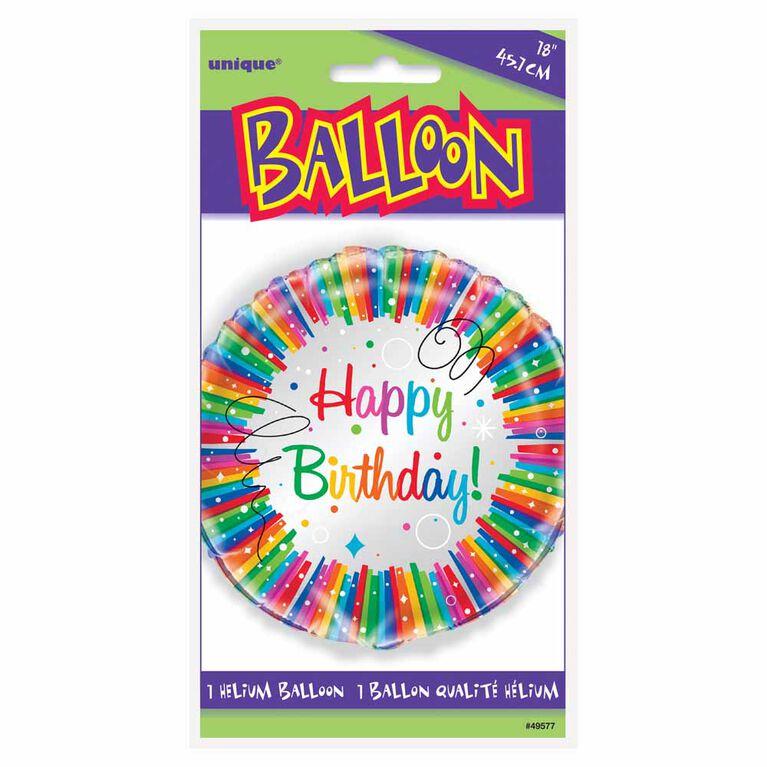"""Ballon aluminium rond, 18 """" - Rainbow Ribbons Birthday - Édition anglaise"""