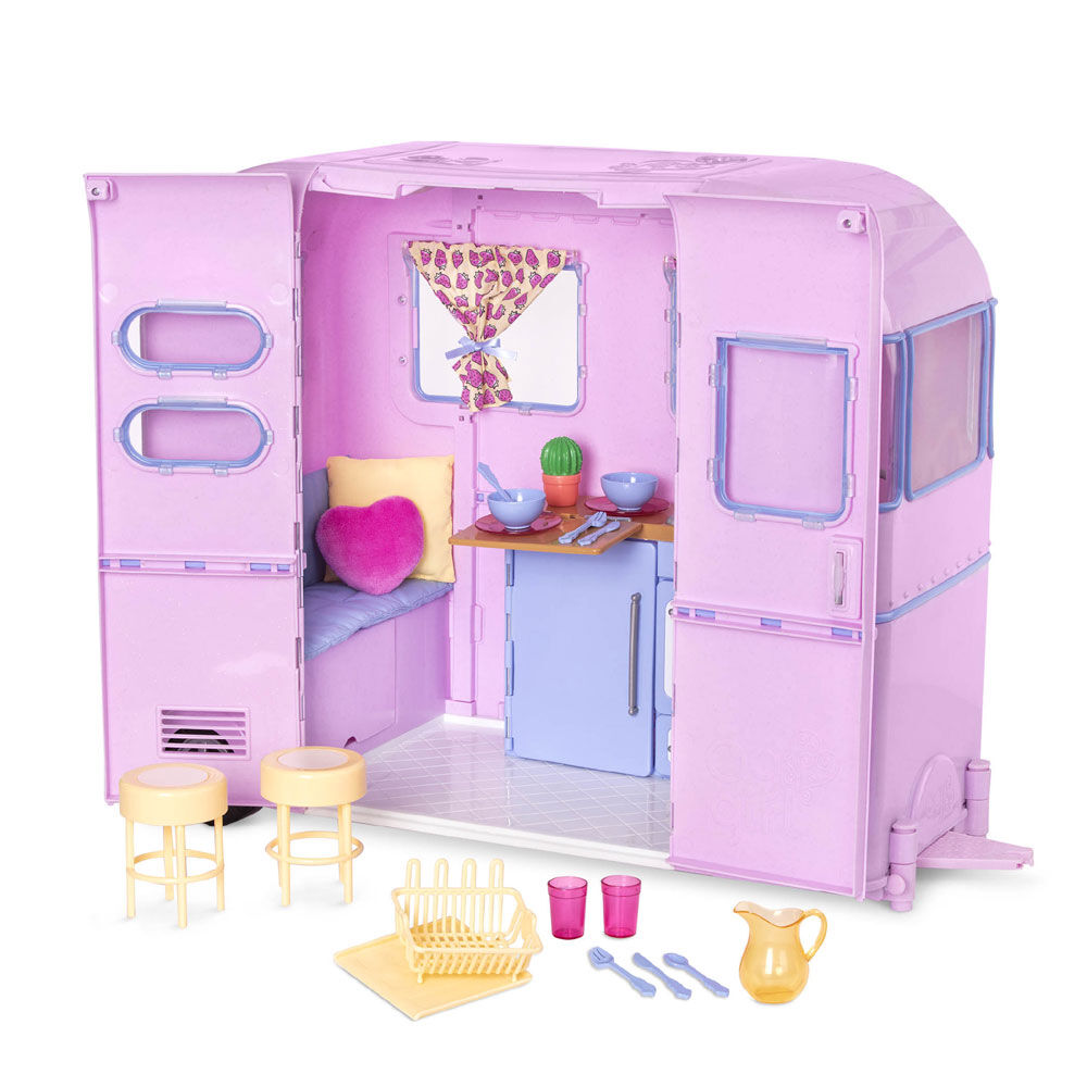 Our Generation, R.V. Seeing You Camper Trailer Playset for 18-inch Dolls