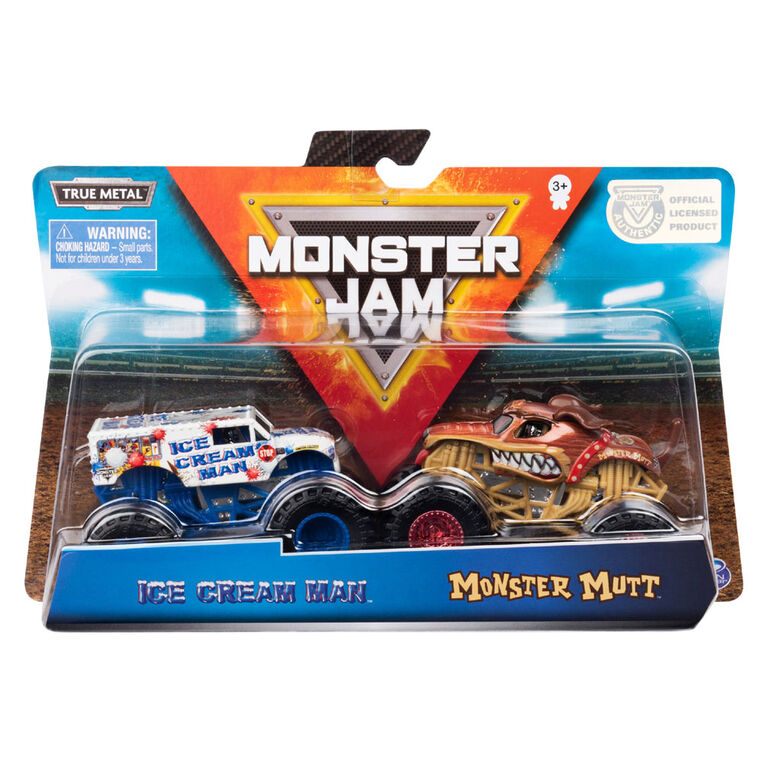 Monster Jam, Official Ice Cream Man vs. Monster Mutt Die-Cast Monster Trucks, 1:64 Scale, 2 Pack