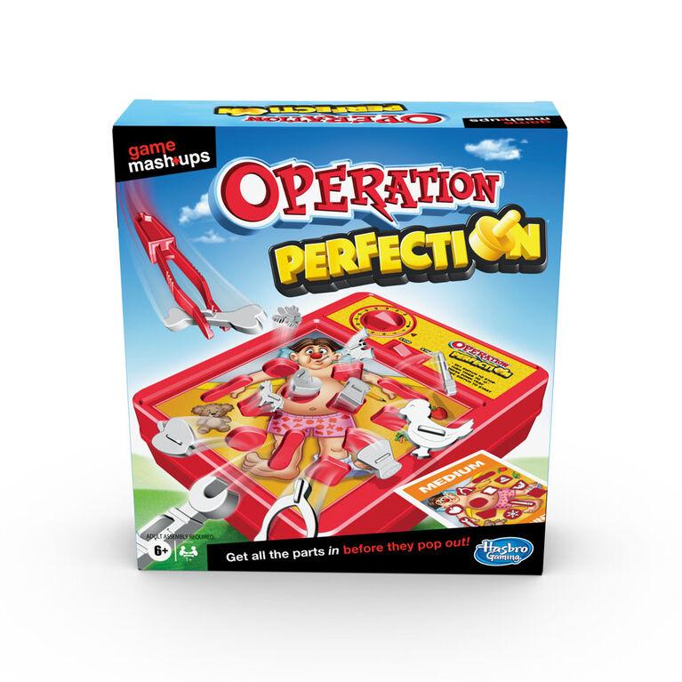 Deux grands jeux réunis, Opération et Perfection, combinaison d'éléments de 2 jeux classiques - Notre exclusivité - Édition anglaise