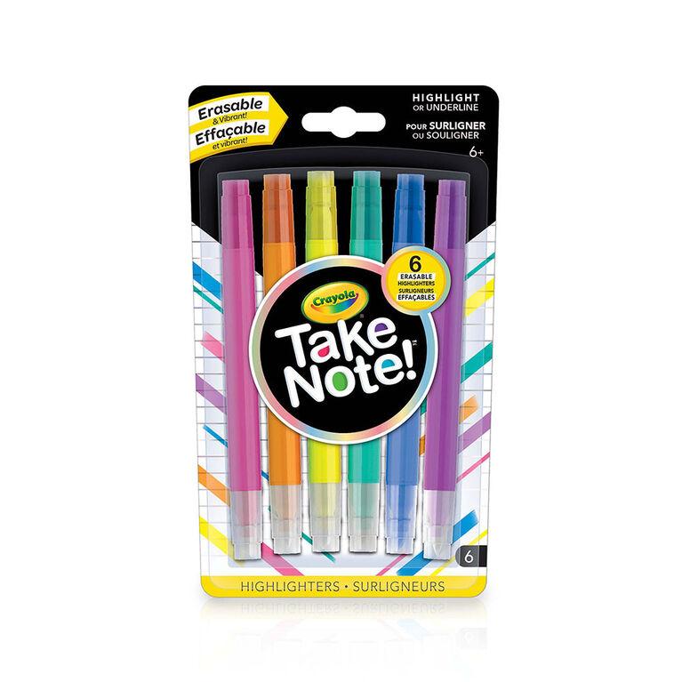 Crayola Take Note! Erasable Highlighters, 6 ct