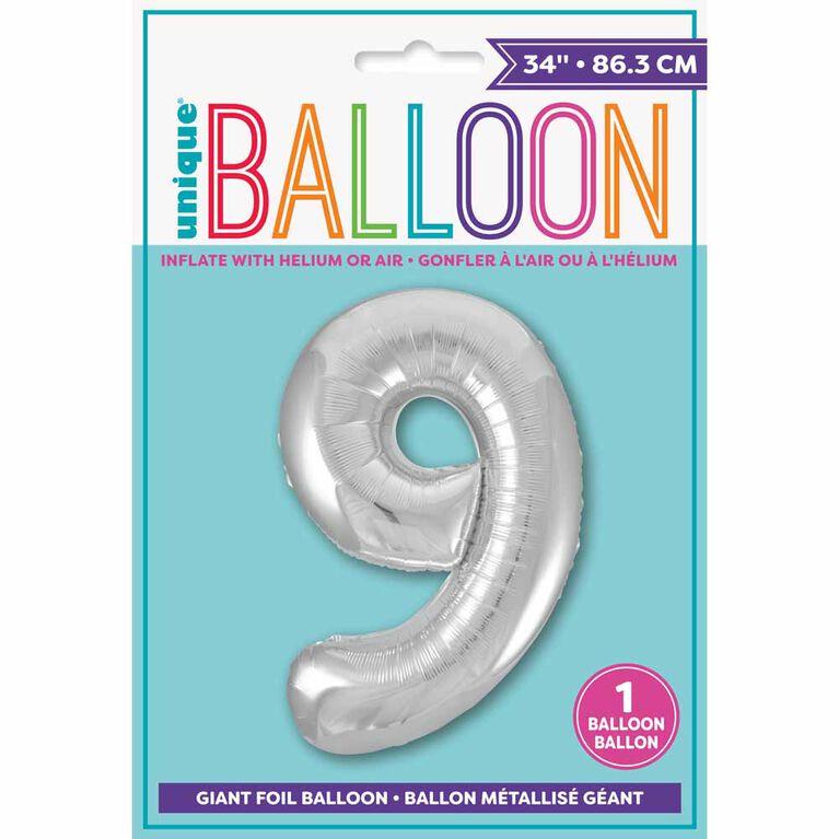 """Ballon en aluminium argenté en forme de nombre 34"""" - 9"""
