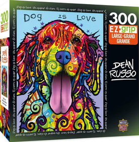 Masterpieces - EZ Grip - Dean Russo Dog is Love Colorful Dog Jigsaw Puzzle 300 Piece