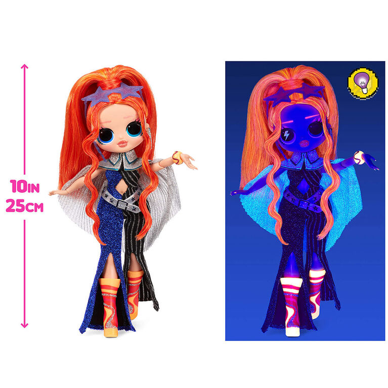 LOL Surprise OMG Dance Dance Dance Major Lady Fashion Doll with 15 Surprises Including Magic Blacklight, Shoes, Hair Brush, Doll Stand and TV Package