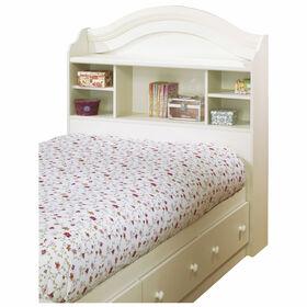 Summer Breeze Bookcase Headboard with Storage- White Wash