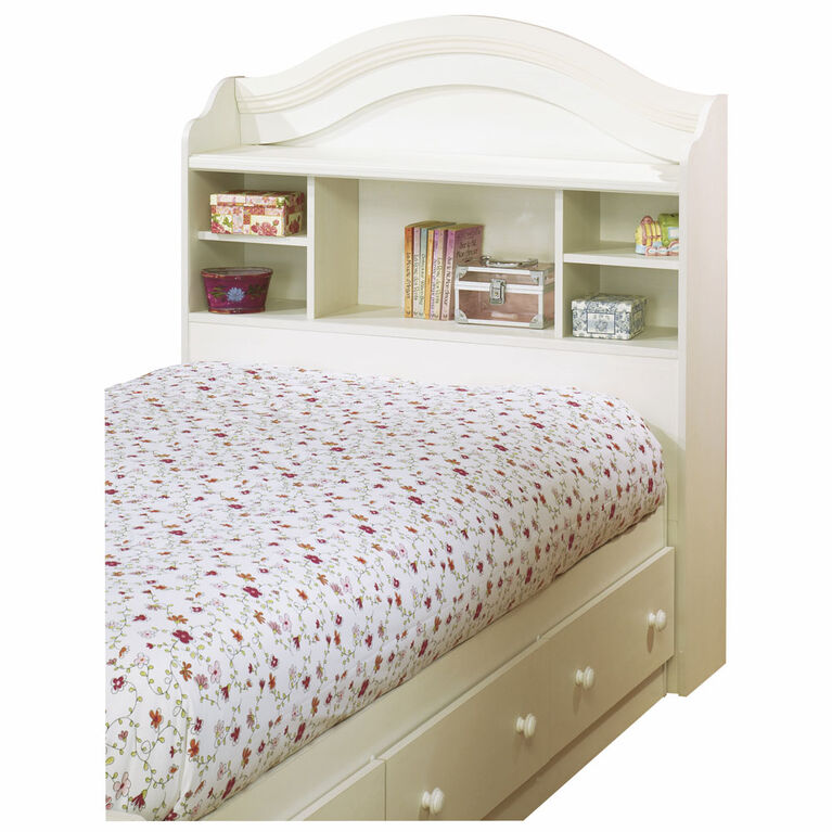 Summer Breeze Bookcase Headboard with Storage- White Wash