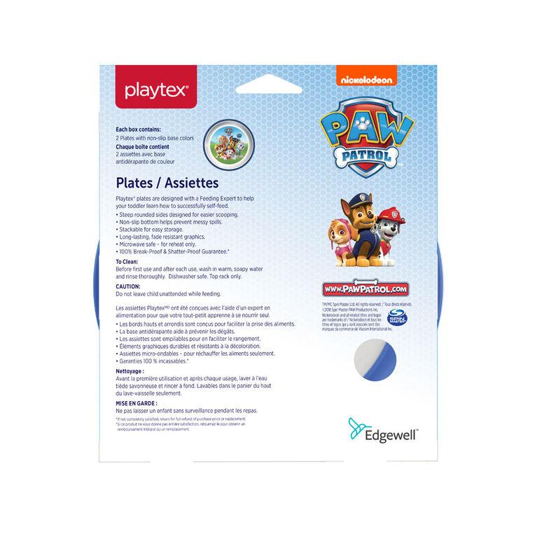 Emballage de 2 assiettes Paw Patrol de Playtex ? bleues