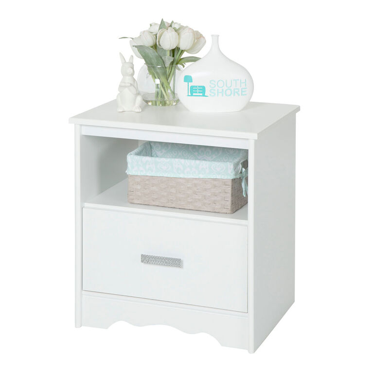 Tiara 1-Drawer Nightstand - End Table with Storage- Pure White
