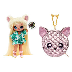 Na Na Na Surprise 2-in-1 Fashion Doll and Metallic Purse Glam Series - Victoria Grand, Blonde Doll in Green Dress and Dog Ear Hat with Chihuahua Purse
