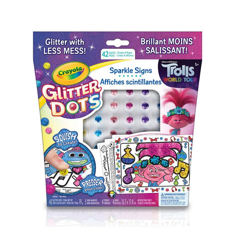 Affiches scintillantes Crayola Glitter Dots Tournée Mondiale des Trolls