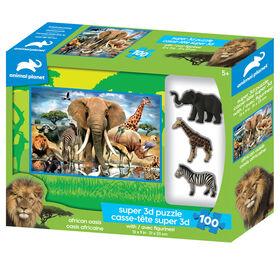 Planète Animale - Oasis Africaine - 100 pc Casse-tête Super 3D avec 3 figurines