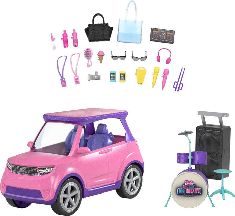Barbie: Big City, Big Dreams Set with Pink 4x4 Convertible Vehicle that Reveals Stage, Drums and Touring Accessories