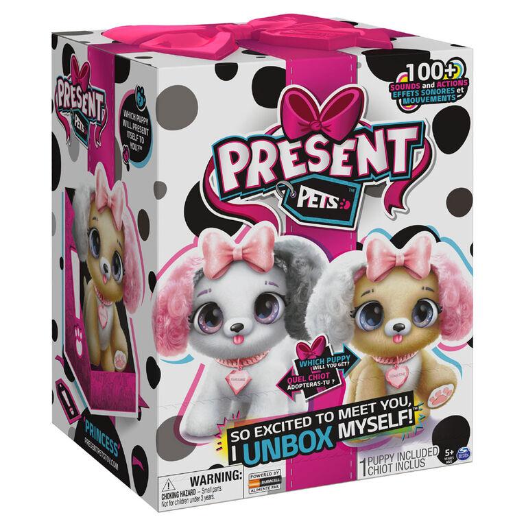Present Pets, Chiot en peluche interactif Fancy avec plus de 100 effets sonores et actions (le style peut varier) - une par commande