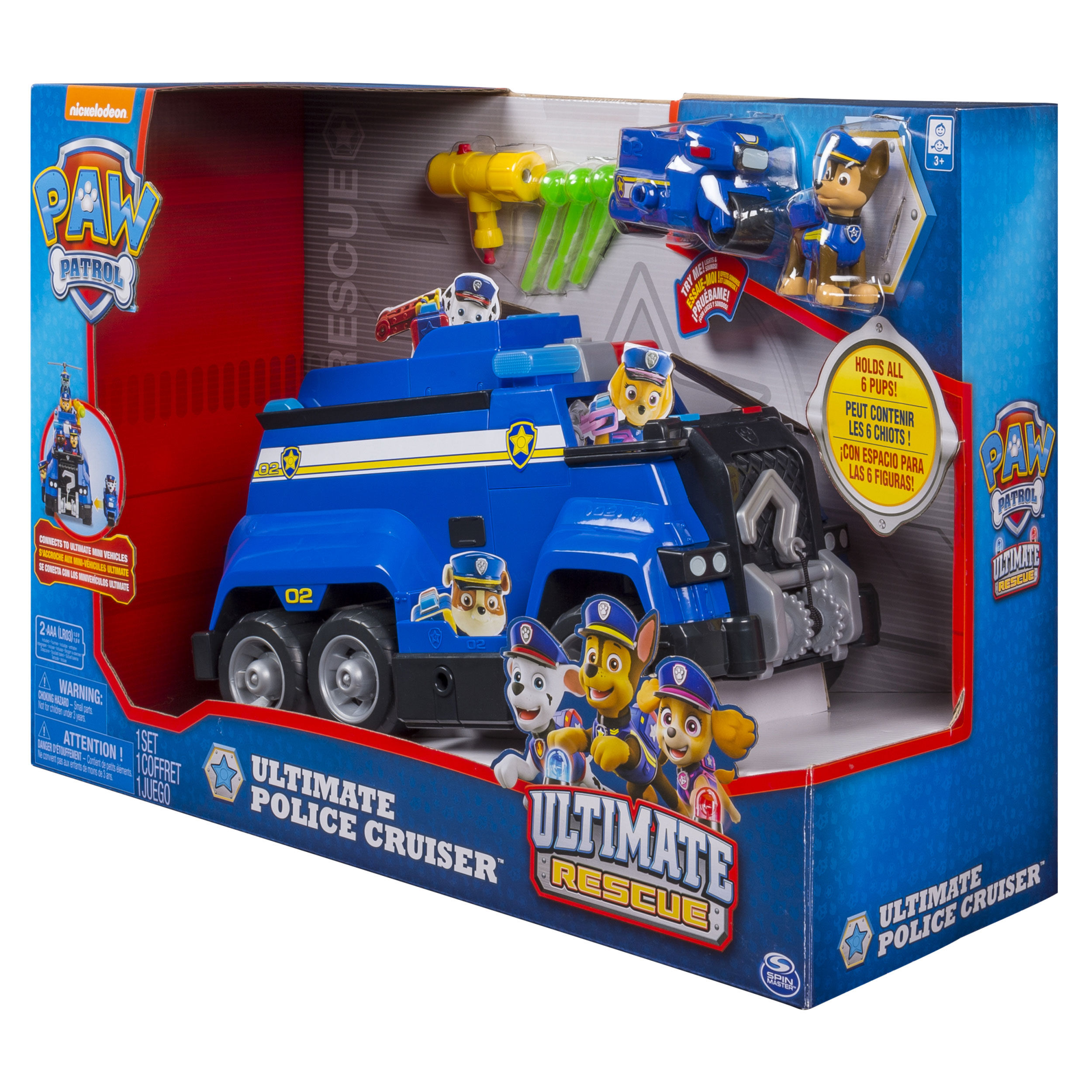 Nickelodeon PAW PATROL ULTIMATE RESCUE CHASE w// POLICE CRUISER Blue TOY VEHICLE