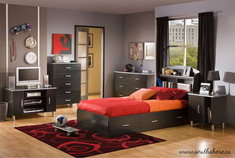 Cosmos Mate's Platform Storage Bed with 3 Drawers- Black Onyx