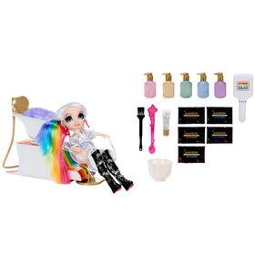 Jeu de salon de beauté Rainbow High avec arc-en-ciel de mousse capillaire colorante lavable pour les enfants et les poupées