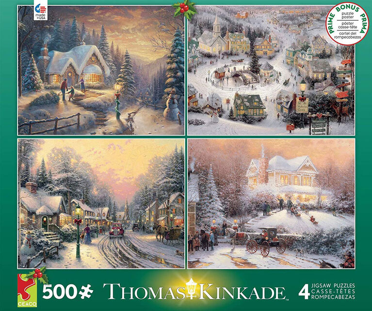 Ceaco Thomas Kinkade 4-in-1 Multi-Pack Holiday Jigsaw Puzzle