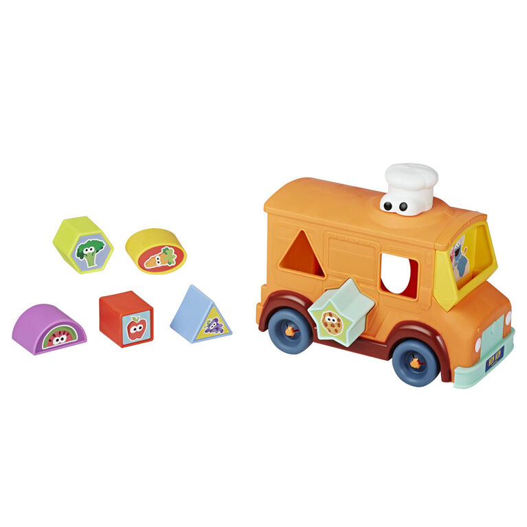 Sesame Street Camion des gourmets de Cookie Monster, trieur de formes et véhicule-jouet