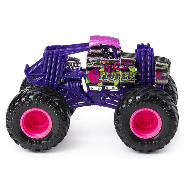 Monster Jam, Monster truck authentique Wild Flower en métal moulé à l'échelle 1:64, série Danger Divas