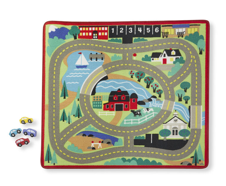 Melissa & Doug - Road Rug with 4 wooden cars