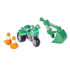 Voiture de Course et Action DJ Rumbler Ricky  Zoom avec l'accessoire d 'action Bucket Arm deluxe- Figurine 3po- les Roues mobiles, se tient débout, Jouet Moto - Notre exclusivité