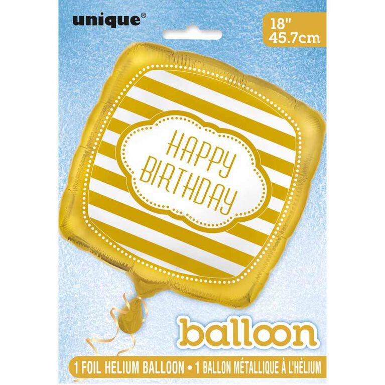 "Golden Bday Square Foil 18"" - English Edition"