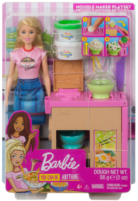 Barbie Noodle Bar Playset with Blonde Doll, Workstation, Accessories