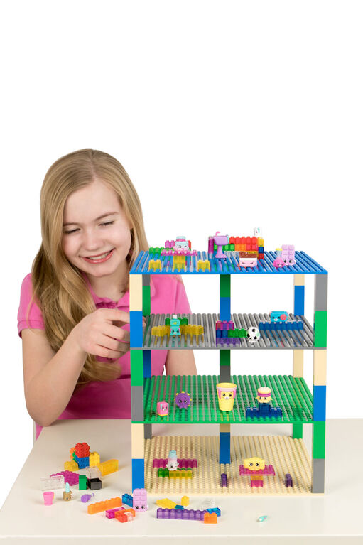 """Strictly Briks - Brik Tower - 10"""" x 10"""" - 32 x 32 pegs - 4 Baseplates & 30 Stackers - Blue, Gray, Green, Sand"""
