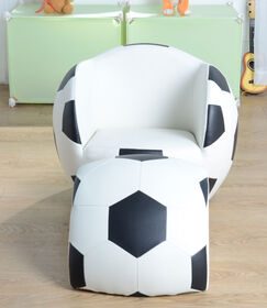 Fauteuil de soccer blanc et noir avec repose-pieds