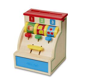 Melissa & Doug Spin and Swipe Caisse enregistreuse en bois avec 3 pièces de jeu, carte de crédit - les motifs peuvent varier