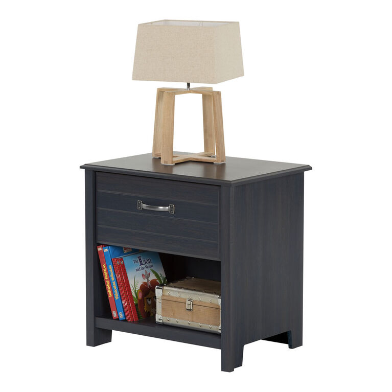 Ulysses 1-Drawer Nightstand - End Table with Storage- Blueberry