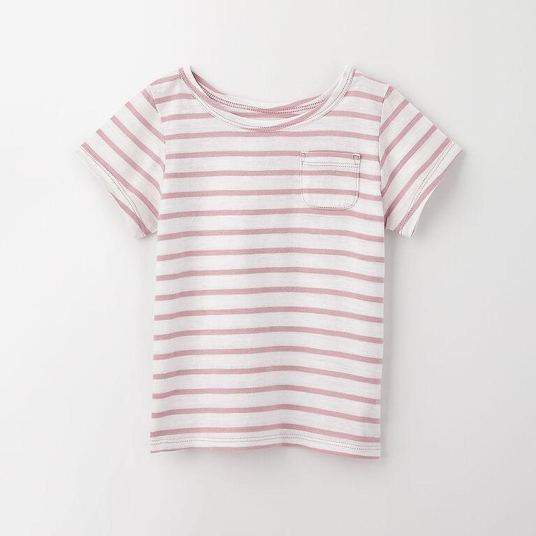 simple roll-sleeve pocket tee, 4-5y - light purple stripe